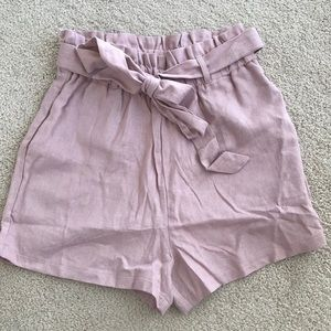 Pink shorts with belt